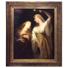 """Behold the Bridegroom Cometh"" Oil on Canvas signed John. J. Napier,1831-1882"
