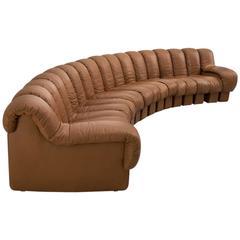 De Sede DS-600 Non-Stop Sectional Sofa in Cognac Leather