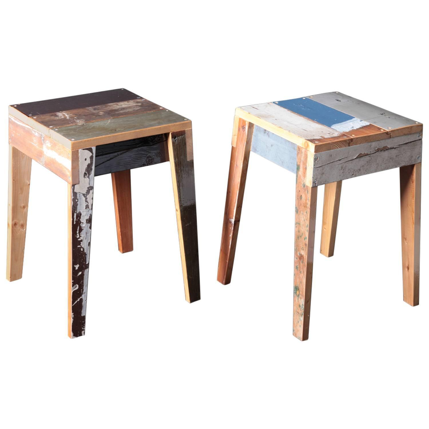 Pair Of Oak Stool Scrap Wood By Piet Hein Eek For Sale At