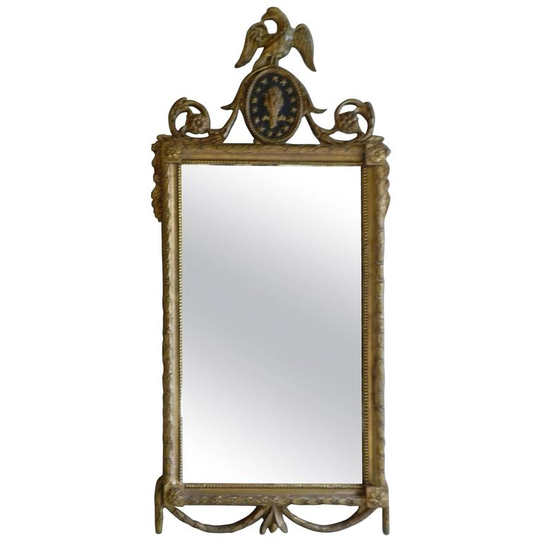 Early 19th Century Wood And Gesso American Federal Mirror