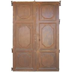 Antique Pair of Large Brown 18th Century Spanish Entrance Doors