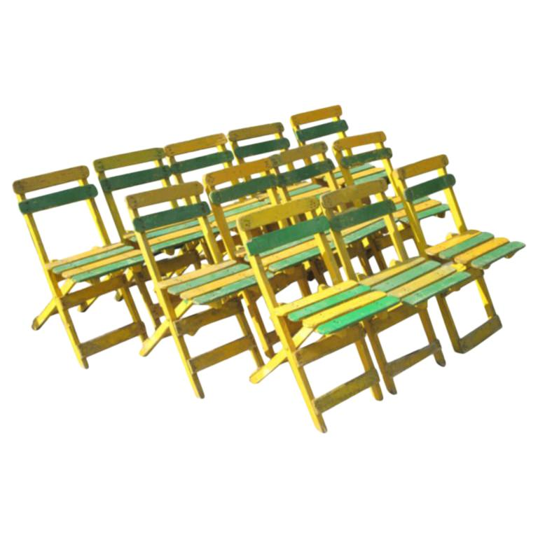 12 Hand Painted Early Modern Dining or Cafe or Garden Chairs, France, 1920 For Sale