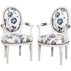 Armchairs Pair French Louis XVI France