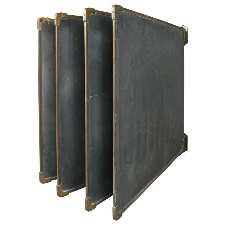 Set of Antique Slate and Bronze Chalkboards 1