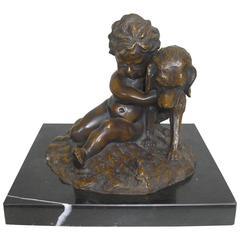 Child with Dog Bronze by J. Daste, circa 1920