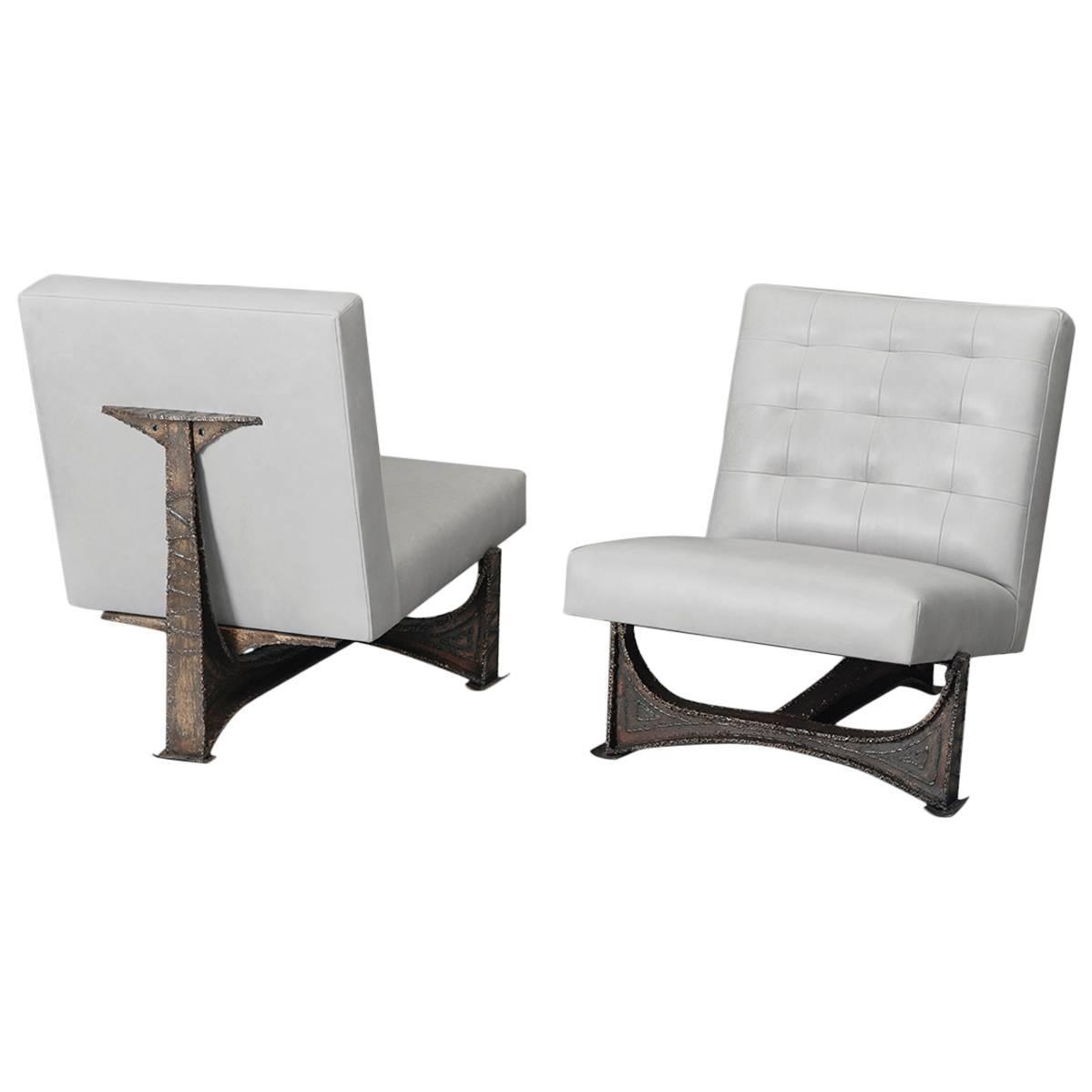 Paul Evans Pair of Welded Steel Chairs USA circa 1965
