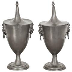 Pair of Urns Pewter Empire 19th Century, France