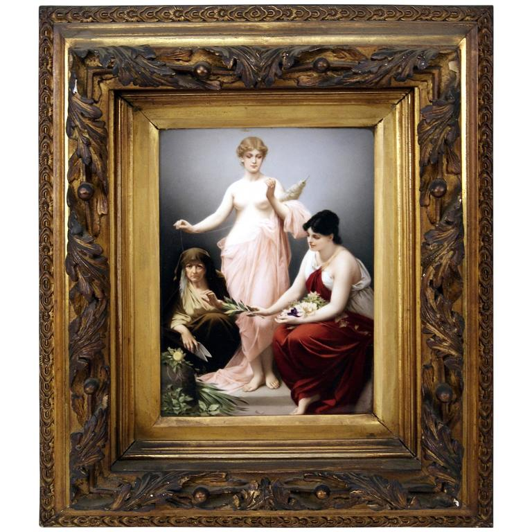 KPM Berlin Picture Plate the Three Fates by Paul Thumann, circa 1880 For Sale