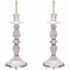 Pair of Fine Carved Rock Crystal Quartz Candle Holders