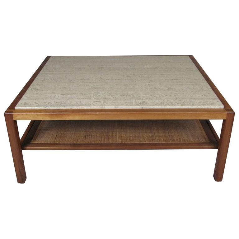 Vintage 1950s Walnut And Travertine Coffee Table At 1stdibs