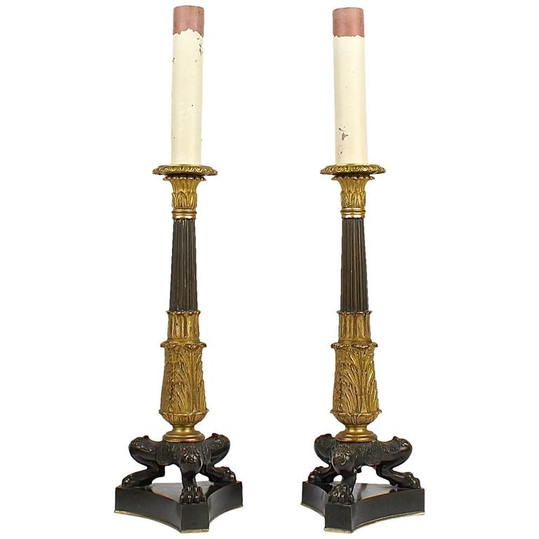 Pair of Antique Patinated and Gilt French Bronze Empire Style Candlestick Lamps