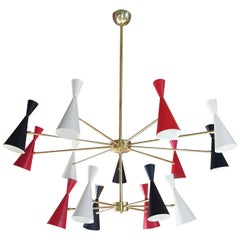 Striking 2-Tier 'Monolith' Enamel and Brass Chandelier by Blueprint Lighting