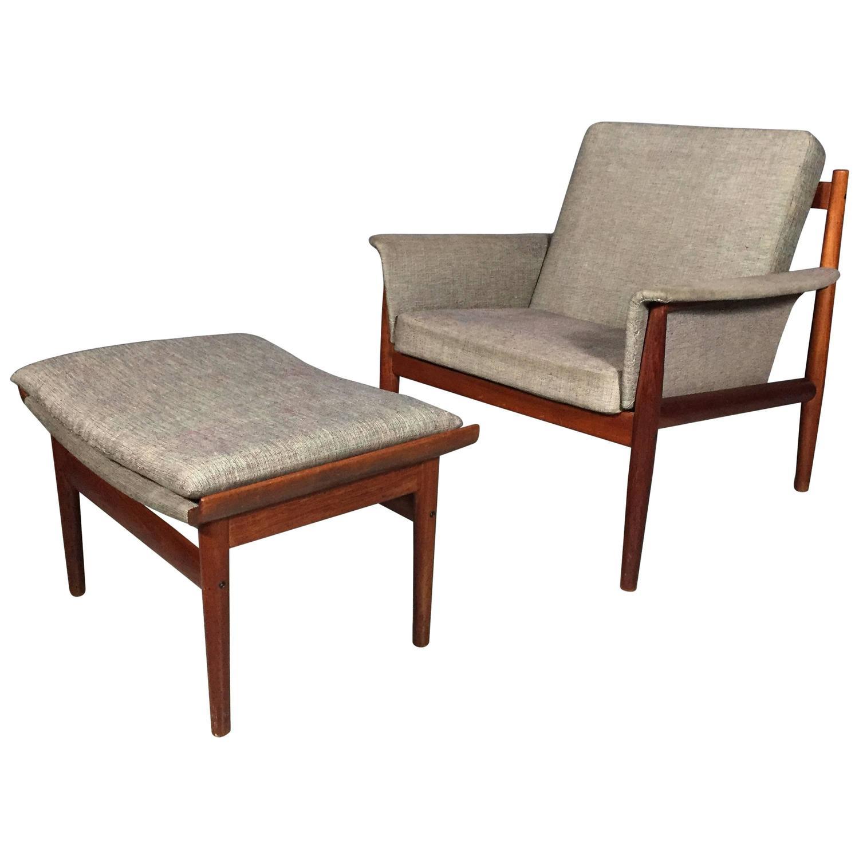 Finn Juhl Teak Lounge Chair And Ottoman France And Son Denmark 1960s At 1s