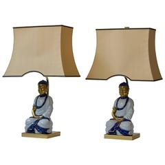 Pair of Hollywood Regency Standing Buddha Table Lamps