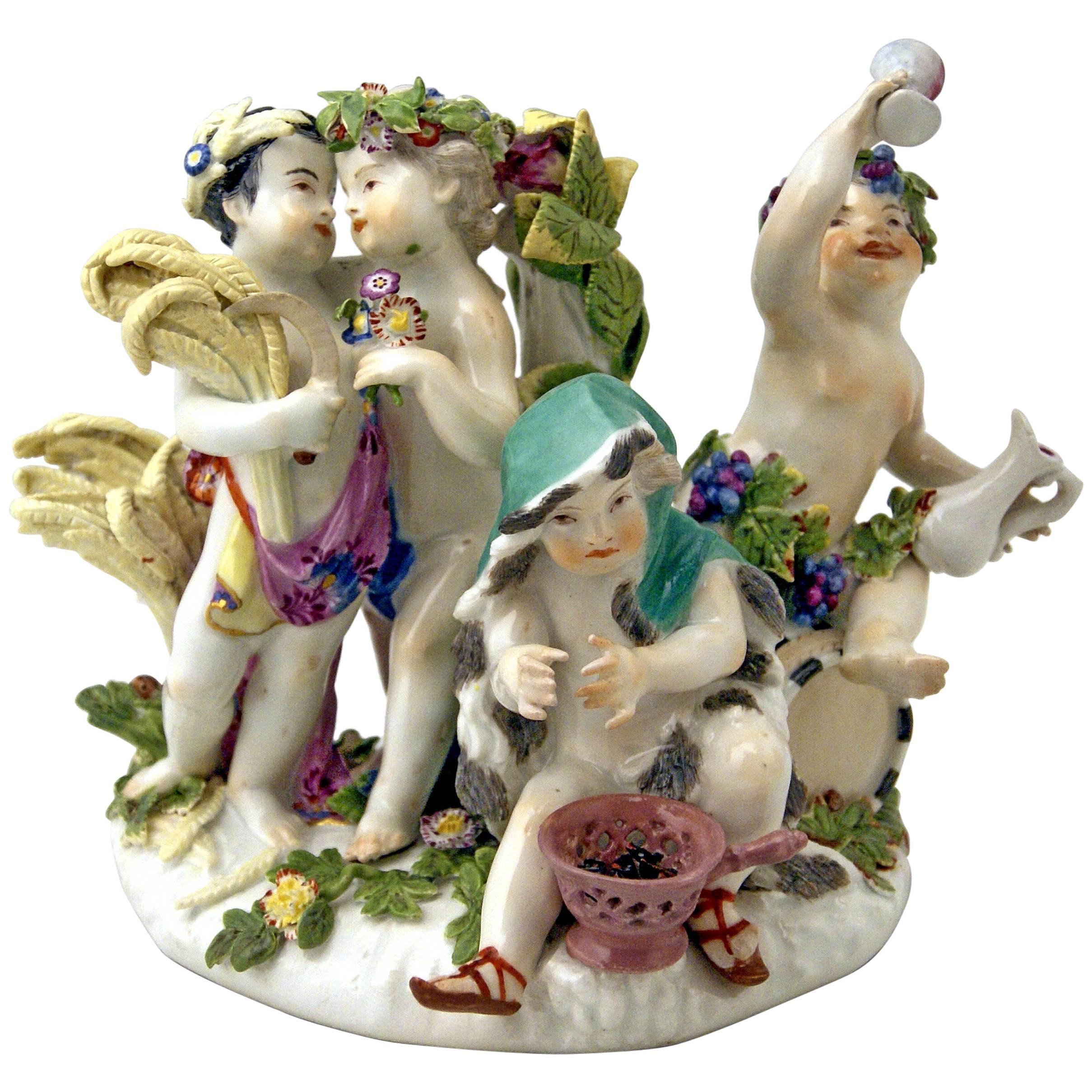 Meissen Gorgeous Figurine Group the Four Seasons Cherubs by Kaendler c. 1755-60