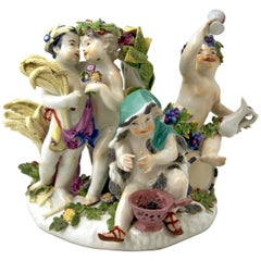 Meissen Gorgeous Figurine Group the Four Seasons Cherubs by Kaendler c. 1755-60
