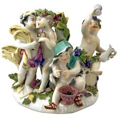 Meissen Gorgeous Figurine Group the Four Seasons Cherubs by Kaendler c.1750