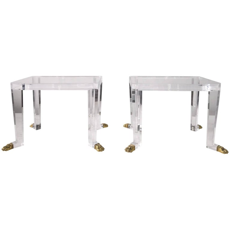 Over the Top Custom Designed Lion Feet on Acrylic Side Tables _SALE_ For Sale