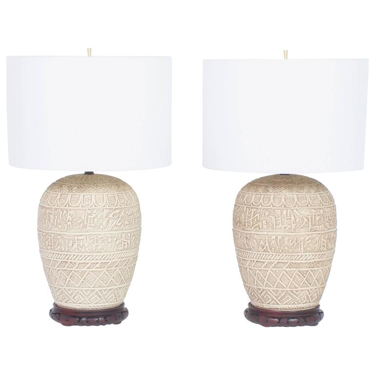 Pair of Mid Century Terra Cotta Table Lamps