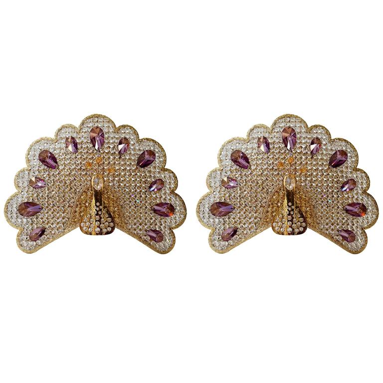 Set of Two Peacock Wall Lights or Sconces For Sale
