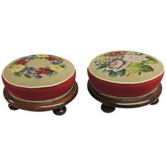 Pair of Antique Tapestry Footstools