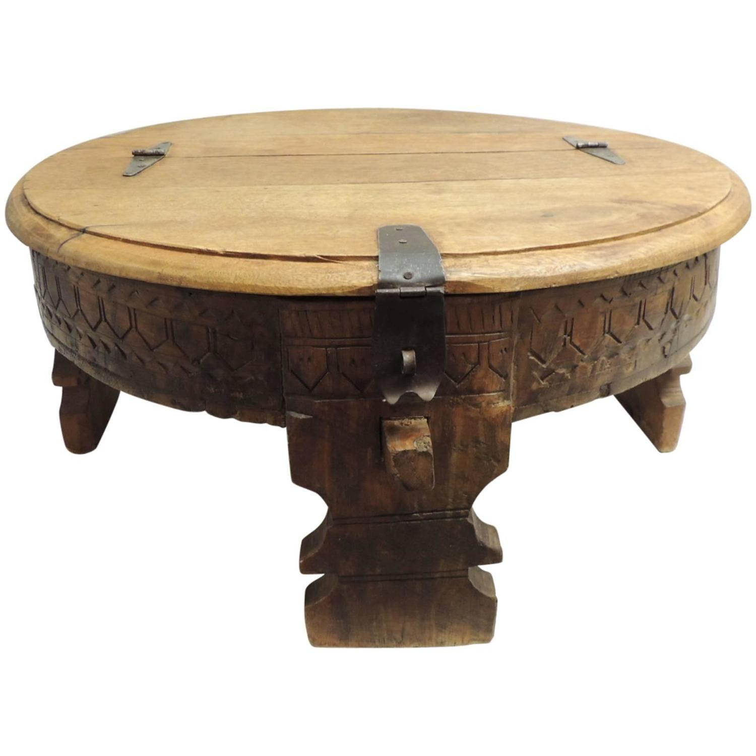 Moroccan carved round coffee table for sale at 1stdibs Carved wood coffee table