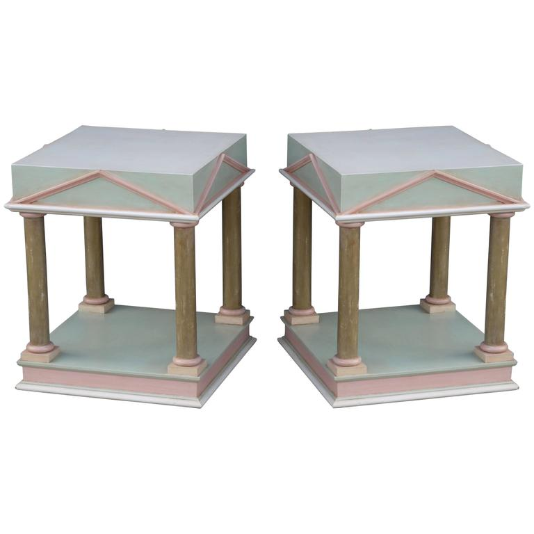 Pair of Neoclassical Inspired Post Modern Tables 1