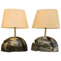 Pair of Sculptural Mid-Century Marble Lamps