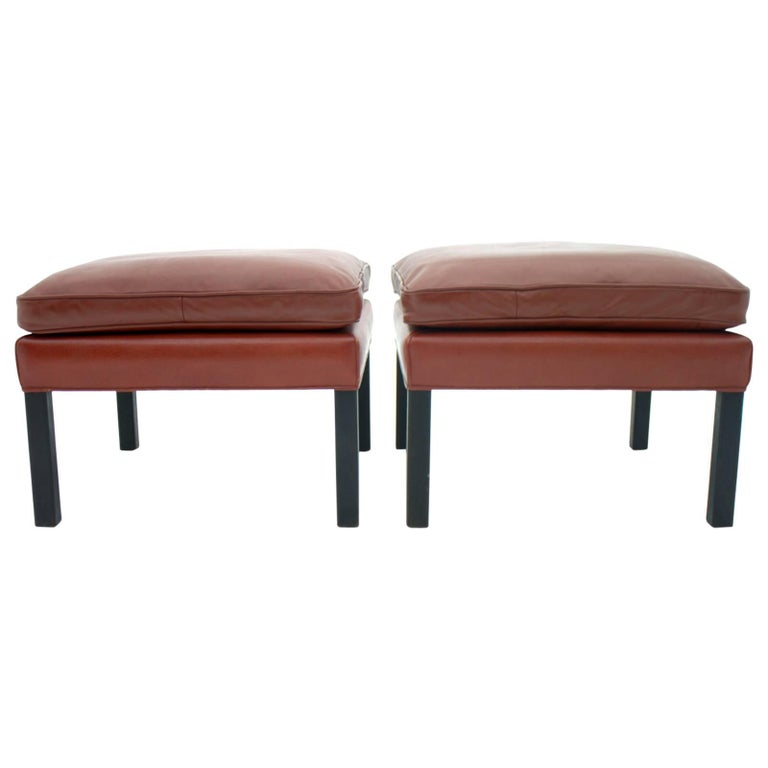 Pair of Leather Stools by Børge Mogensen, Denmark For Sale