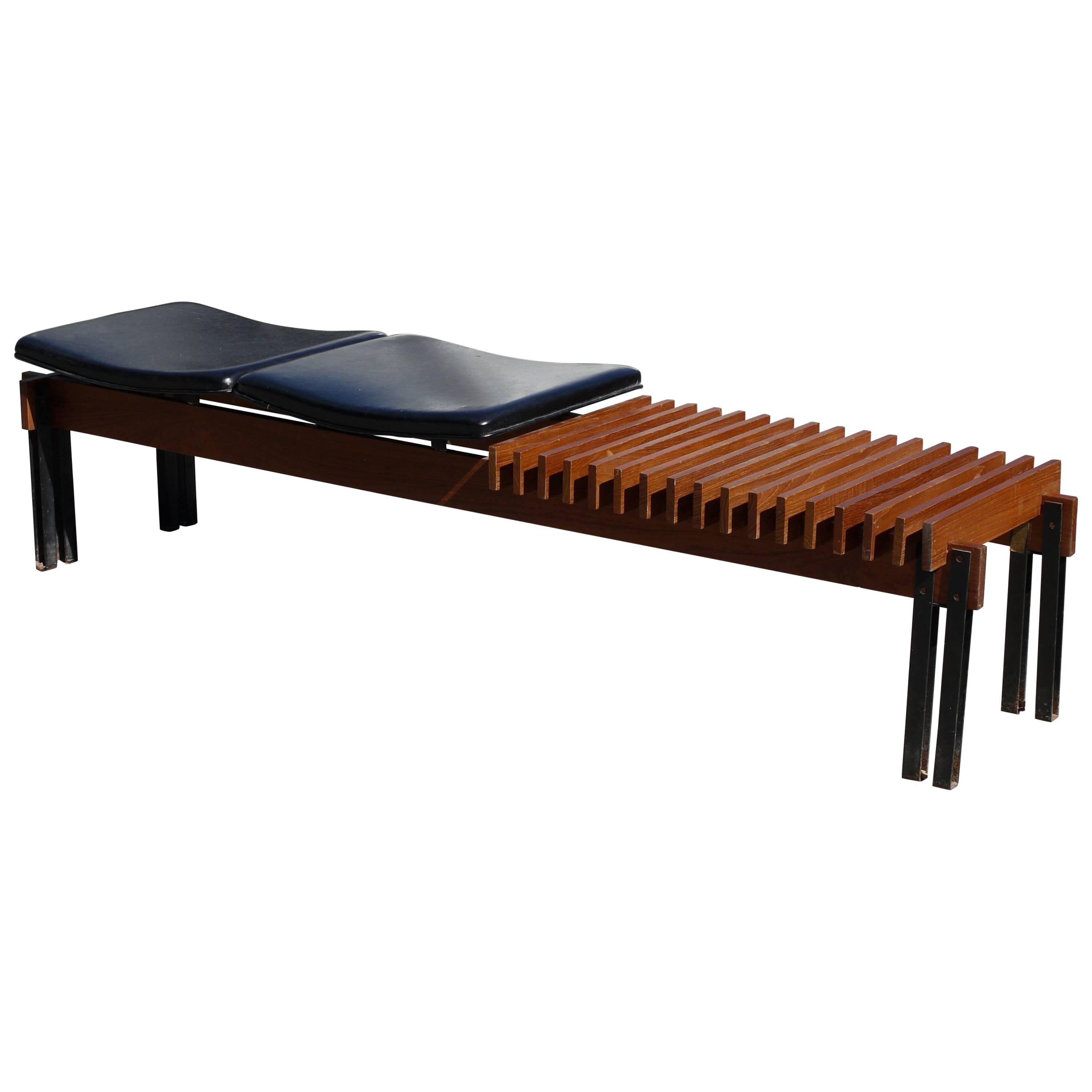Slatted Teak Bench by Inge and Luciano Rubino for Apec
