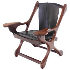 Heavy Rosewood Frame Leather Upholstery Lounge Chair