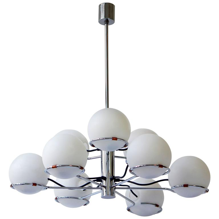 Murano Chandelier with Nine Glass Globes For Sale