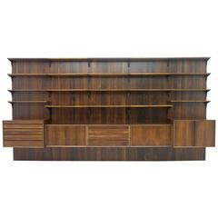 Large Rosewood Wall Unit by Poul Cadovius, Cado, Denmark, 1960s
