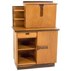 Rare Art Deco Haagse School Bookcase with Drop-Front Desk by P.E.L.Izeren