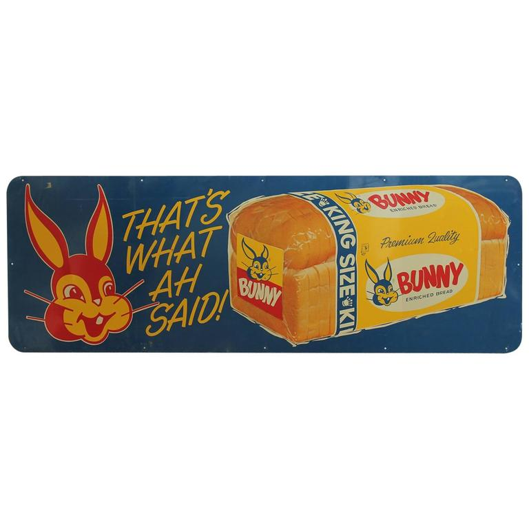 1950s Metal Advertising Sign BUNNY BREAD