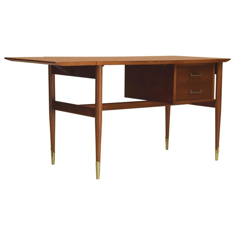 Exceptional Drop Leaf Desk Copenhagen Line By Lane In Walnut And Brass For
