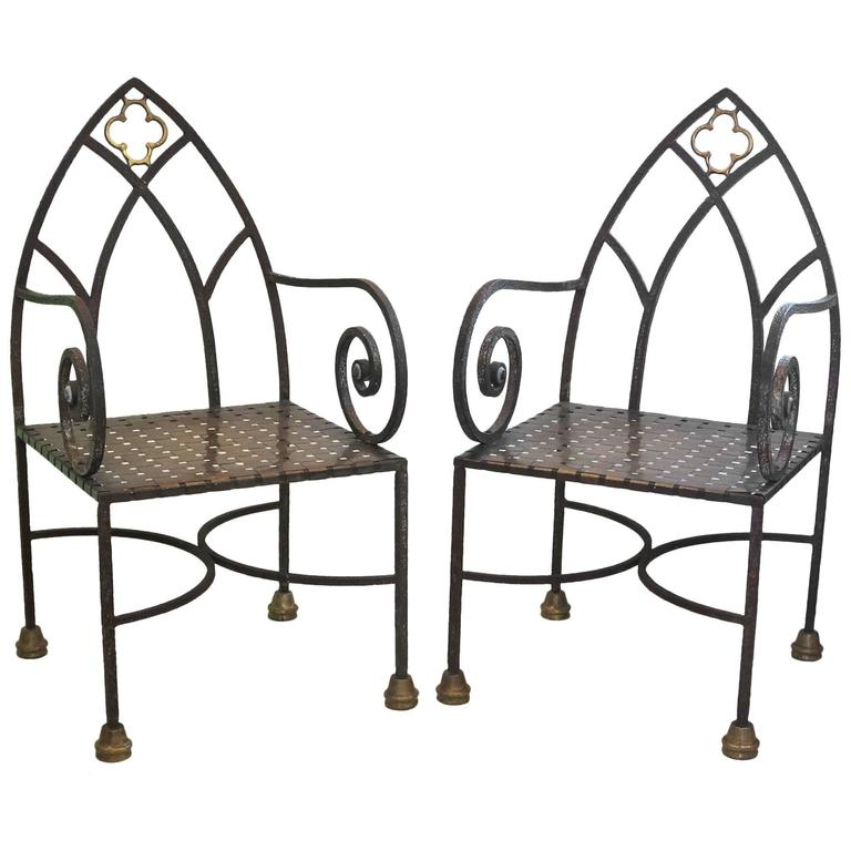 Gothic Revival Iron and Brass Chairs