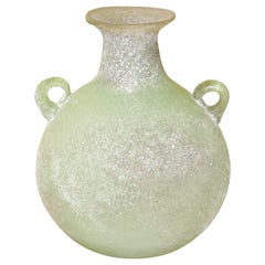 Seguso or Cenedese Scavo Corroso Handled Green Vessel