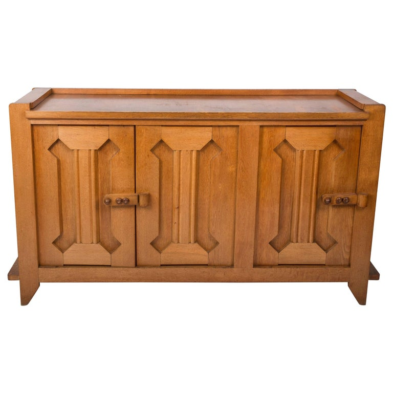 Guillerme et Chambron Waxed Oak Credenza For Sale