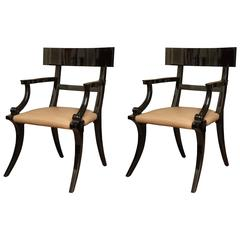 Pair of Black Lacquered Klismos Chairs, circa 1950