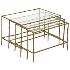 Set of Three Brass Bamboo Nesting Tables, circa 1950