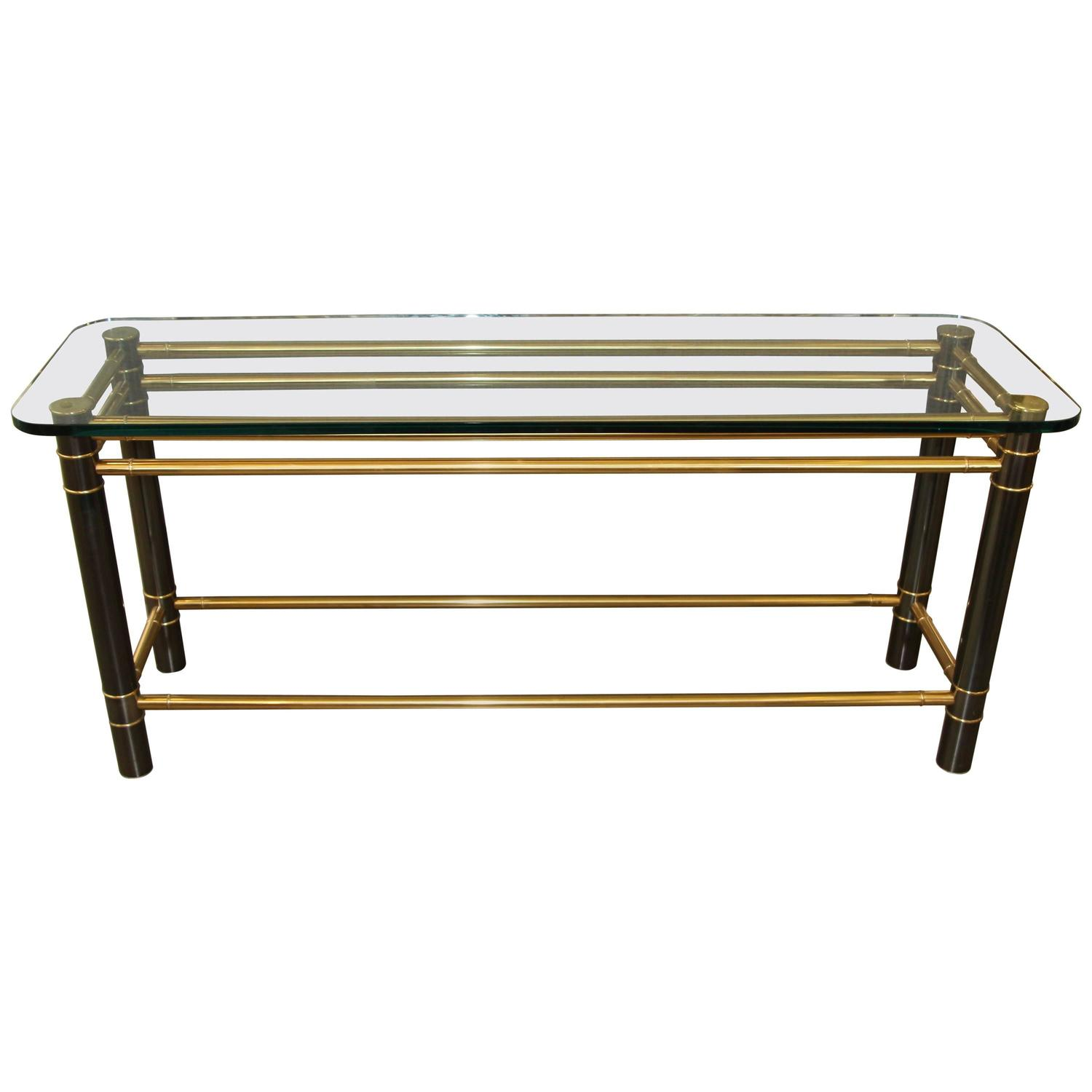 beautiful console or sofa table brass and iron with thick