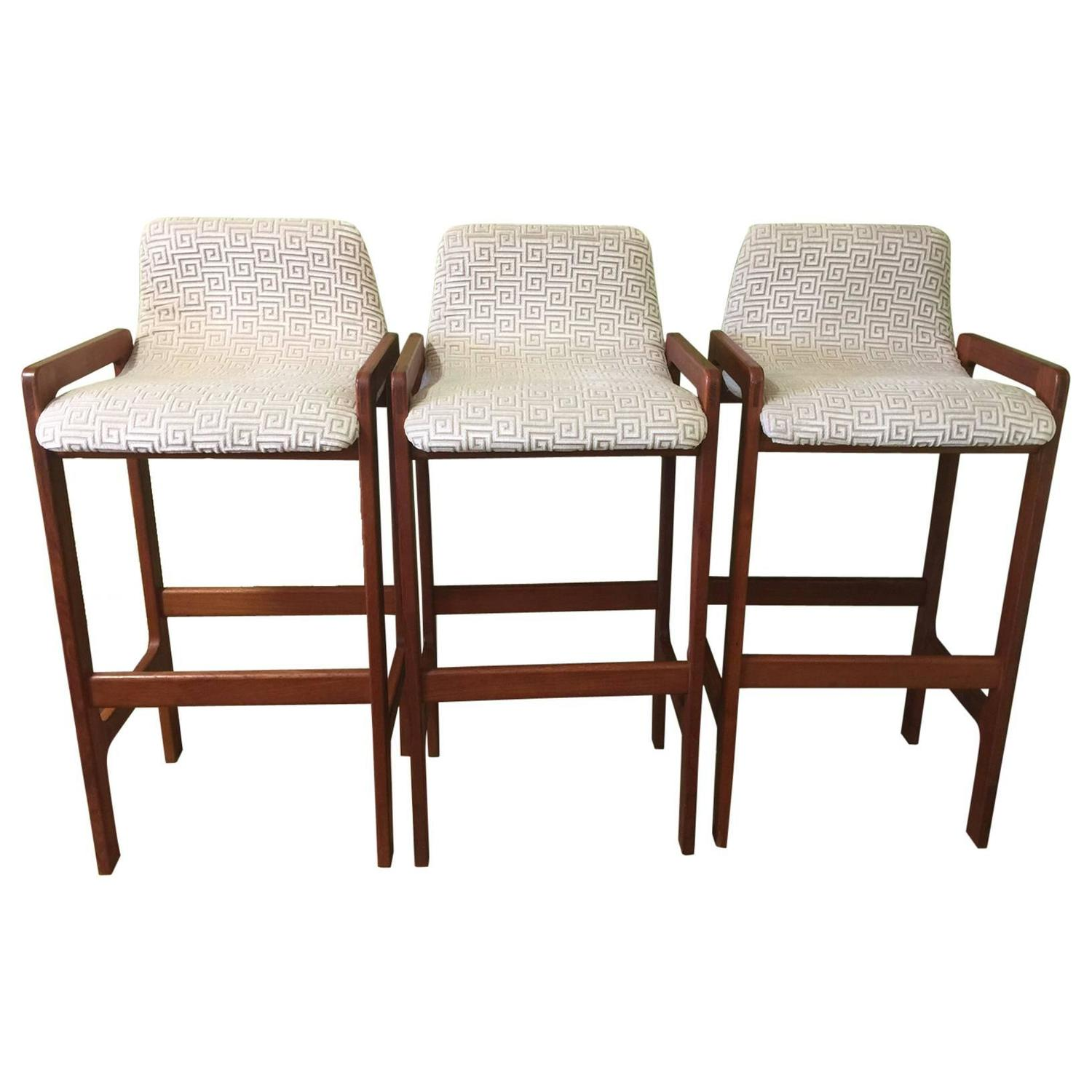 Dixie Mid Century Modern Barstools With Greek Key Upholstery Set Of Three At 1stdibs