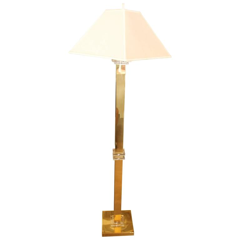 Frederick Cooper Br And Lucite Floor Lamp At 1stdibs