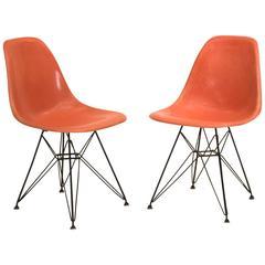 Orange Eames Shell Chairs on Original Eiffel Bases