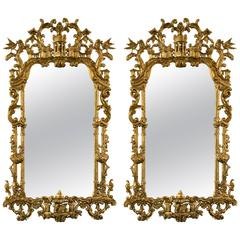 Pair of Monumental Gilt Gold Carved Chippendale Style Wall or Console Mirrors