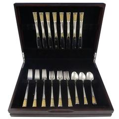 Golden Columbine by Lunt Sterling Silver Flatware Set for 8 Service 32 Pieces