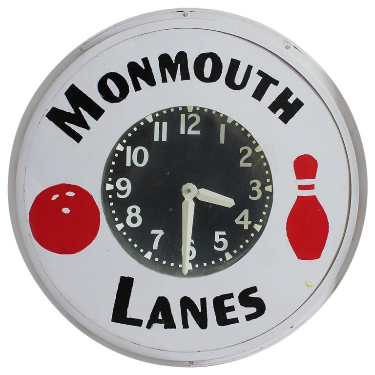 1930s Neon Advertising Clock for Monmouth Bowling Lanes For Sale