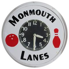 1930s Neon Advertising Clock for Monmouth Bowling Lanes