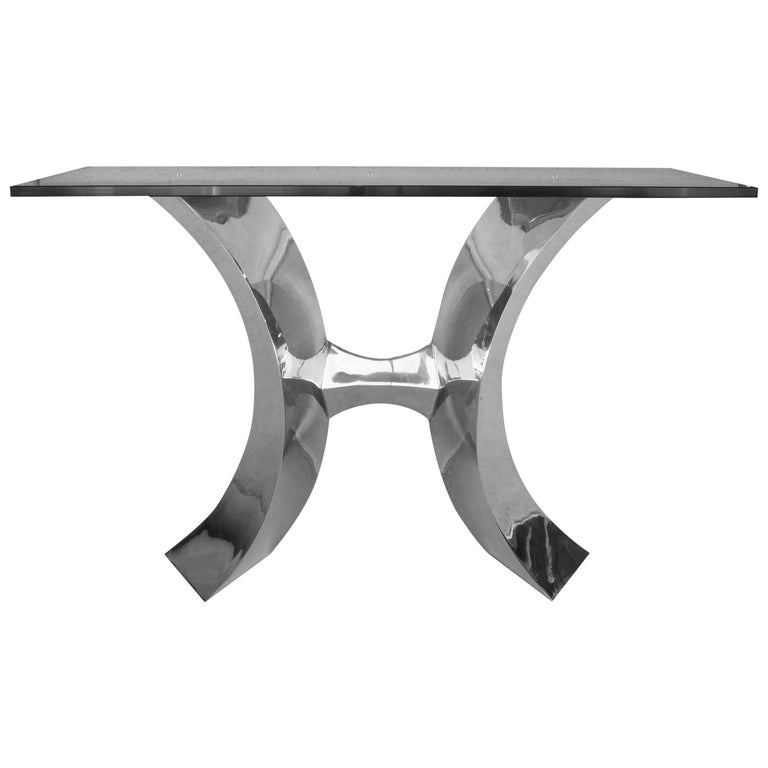 Forged Stainless Steel Console Table by Curtis Norton For Sale